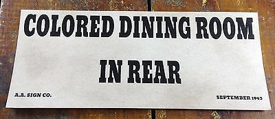 Black Americana Segregation Colored Dining Room in Rear AA Sign Co Paper Sign