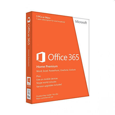 Microsoft Office 365 Home Premium 5 PC s or MAC 1 Year Subscription 12 months