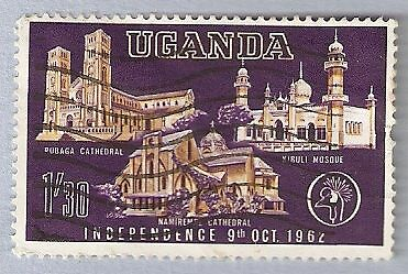 1962 Uganda Independence 1 Shilling 30 Cents Cathedrals And Mosque