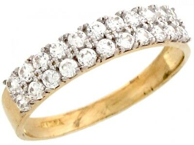 10k or 14k Yellow Gold Pretty Two Row Round Cut White CZ Band