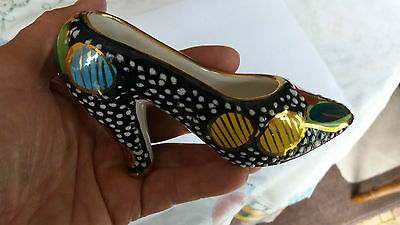 Collectible vintage hand painted miniature ceramic ladies shoe