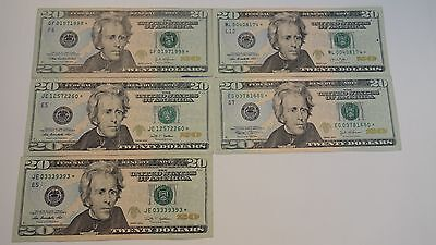 $20 Star Note  Lot Of 5 Notes Nice Star Notes
