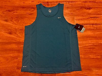 New Men's Nike Dri-Fit Miler Running Singlet, Large, Turquoise