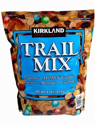 4 Lb Kirkland TRAIL MIX Peanuts M&M's Candies Raisins Almonds Cashews