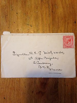 George V One Penny Stamp On Ww1 Envelope To Soldier R E G Hill, Rifle Brigade