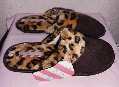 Ladies Brown Leopard Print Slippers By Scrapbook Sizes S M L (3-4, 5-6, 7-8)