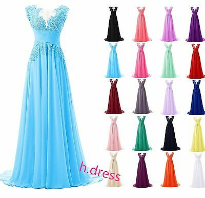 Long Chiffon Lace Beaded Bridesmaid Formal Ball Gown Party Evening Prom Dress