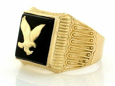 10k or 14k Solid Yellow Gold Onyx Eagle Mens Ring