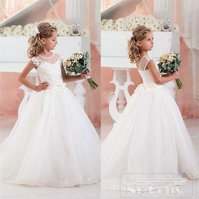 White Ivory Flower Girl Dress Communion Birthday Bridesmaid Dress Party Dresses