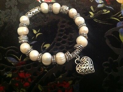 Stunning Large White Baroque Pearl and Heart Stretch Bracelet....