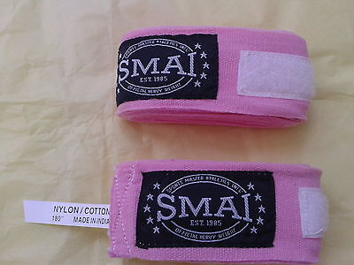"4 x Twin Packs SMAI 180"" Pink Boxing Hand Wraps"