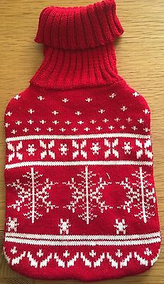 christmas  Red/white  Knitted Hot Water Bottle Cover