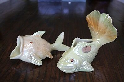 Vintage Pair Australian Pottery Wembley Ware Goldfish With Lustre Glaze Ash Tray