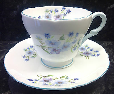 """Shelley Henley Shape """"Blue Rock"""" Pattern Demitasse Coffee Cup and Saucer."""