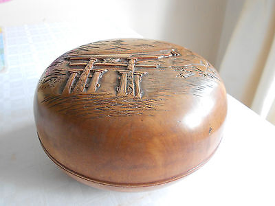 Antique Chinese carved wooden Scholar box rare collectable scholar object