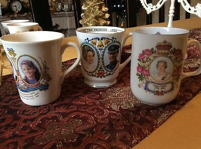 three commemorative royal family mugs queen elizabeth the queen mother
