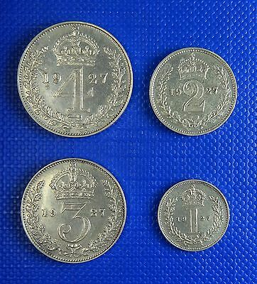 George V, Silver Maundy Set, 1927 - 4D, 3D, 2D and 1D - Scarce