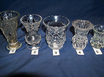 5 VINTAGE  GLASS DIAMOND CUT POSY VASES VARYING SHAPES 1930-1940's  *SEE PHOTOS*