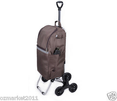 * Convenient Brown Pattern Six-Tire Collapsible Shopping Luggage Trolleys