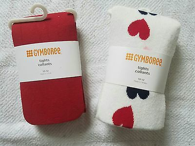 Gymboree Girls Valentines Hearts Tights Stockings Size 10 NWT set of 2