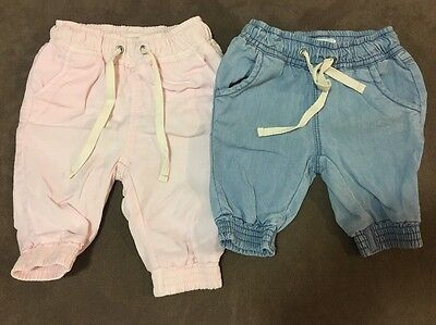2 X Baby Girls Country Road Pants, Pink And Denim Size 0-3 And 3-6 Months