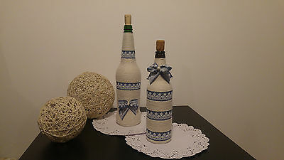 Shabby Chic Vintage Rustic Handmade - Set Of Two Decorative Bottles