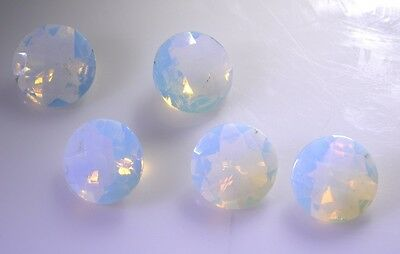 Fire opal cz faceted White Round gems 12x12 1 pc