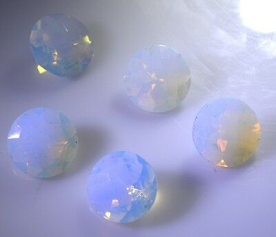 Fire opal cz faceted White Round gems 14x14 1 pc