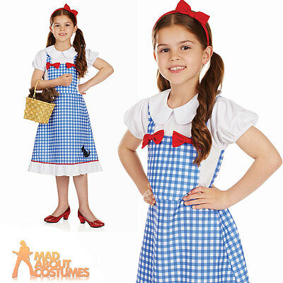 Girls Dorothy Costume Child Fairytale Fancy Dress Book Day Outfit Kids Age 4-12