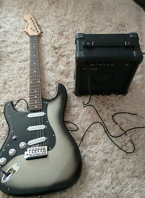 Benson left handed electric guitar with case & amp