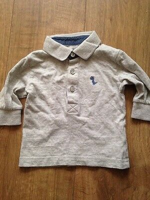 Next Baby Boy's Grey Polo Long Sleeved Top (size 3-6 Mths)