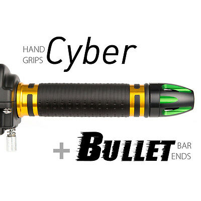 Magazi motorcycle Cyber grips gold with Bullet bar ends green/black