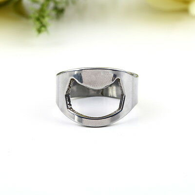 Stainless Steel Finger Ring Beer Bottle Open Opener Bar Supplies Kit Tool BG