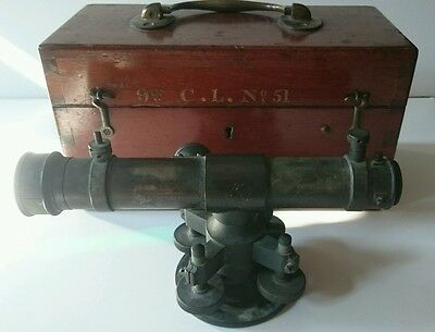 """Surveyors Level London - 9"""" C.l No.51 - Antique Brass With Wooden Box And Lense"""