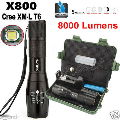 Zoomable 8000LM XML T6 LED Tactical Flashlight Torch+18650 Battery+Charger +Case