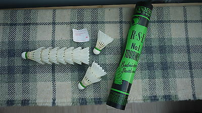 Vintage R.s.l No1 Tourney Badminton Shuttlecocks  Pointed Feathers Medium 78
