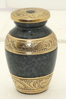 Mini Cremation Ashes Urn Funeral Memorial Remembrance small keepsake Grey & Gold