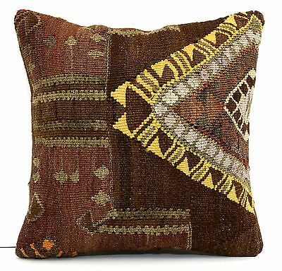 "AUTHENTIC TRIBAL TURKISH HANDWOVEN KILIM RUG DECORATIVE PILLOW COVER 16"" x 16"""