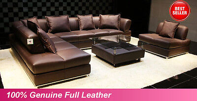 NEW Large Brown 100% Full Italian Leather Corner Sofa Settee Suite%--Top Quality