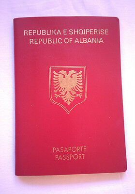 Vintage Republic of Albania Travel Document Uncirculated With Stamps Red Type RR