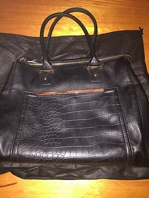 Black Collette Hand Bag With Gold Trim Comes With Dust Bag