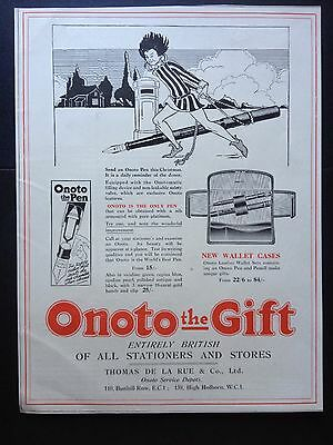 Vintage 1923 Print Ad (D16)~Onoto Pens For Christmas London