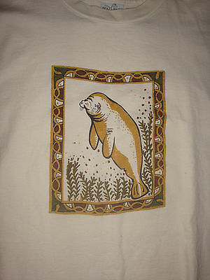 Adorable Glittery Manatee T-Shirt, Size Large, Nice Condition!