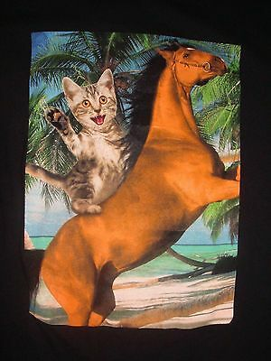 Adorable Cat Riding A Horse T-Shirt, Size XL, Great Condition!