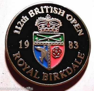 "1983  British Open Golf Ball Marker 1"" Coin  Royal Birkdale Club Hand Painted"