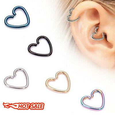 4X Surgical Steel Heart Ring Piercing Hoop Earrings Helix Cartilage Tragus Daith