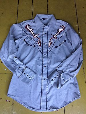 Amazing Rare Vintage 1970s Unworn Levi's Pearl Snap Embroidered Western Shirt L