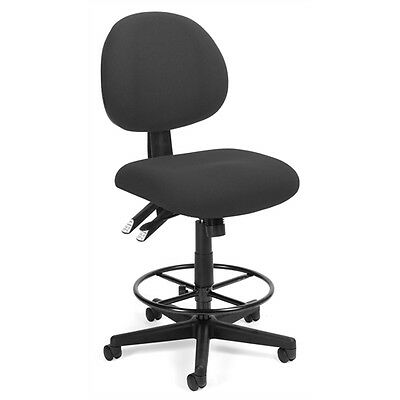 OFM 24 Hour Computer Task Stool with Drafting Kit, Charcoal