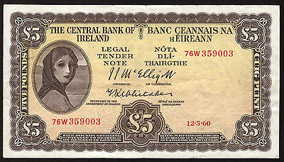 Central Bank of Ireland £5 Pounds 1960 Lavery. Very fine.