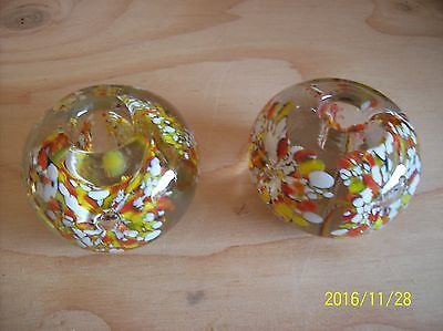 Pair of Collect Suspended Bubble and Flowers Art Glass Paperweight Candlesticks